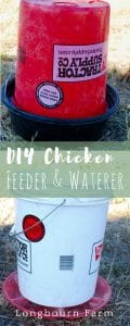 I made an inexpensive DIY chicken feeder and DIY chicken waterer. All the materials are things you would have around or be able to get easily.