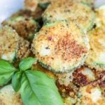 Close-up of fried parmesan zucchini.