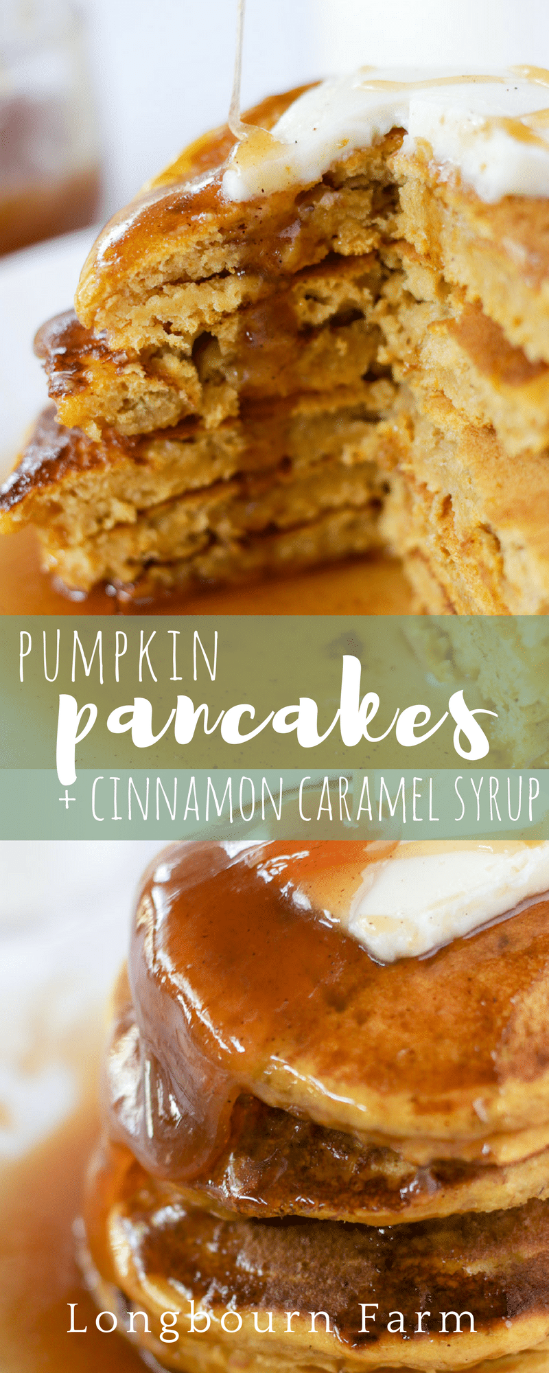 This pumpkin pancake recipe is light, fluffy, and full of pumpkin flavor! Topped with cinnamon caramel syrup, these pancakes are full of Fall flavor! via @longbournfarm