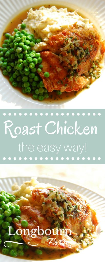 Learn how to make easy roast chicken with these helpful step-by-step instructions. This roast chicken will turn out every time. Also learn how to make a quick pan sauce after you make this simple roast chicken!