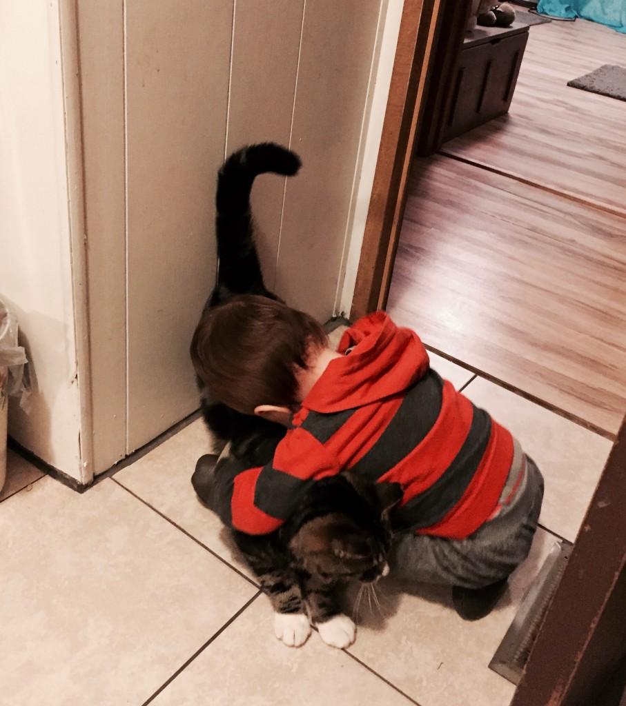 Abram kissing Turtle