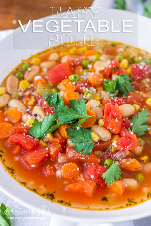 This easy vegetable soup is full of healthy, simple ingredients but still packed with delicious flavor. Ready in under 30 minutes, it's a hearty healthy meal - quick! #vegetablesoup #vegetablesouprecipe #vegetablesouprecipes #vegetablesoupeasy #vegetablesoupvegetarian #souprecipe #soupday #souprecipes