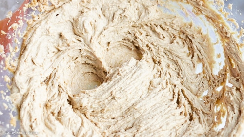Creamed butter, sugar, and peanut butter for soft peanut butter cookies.