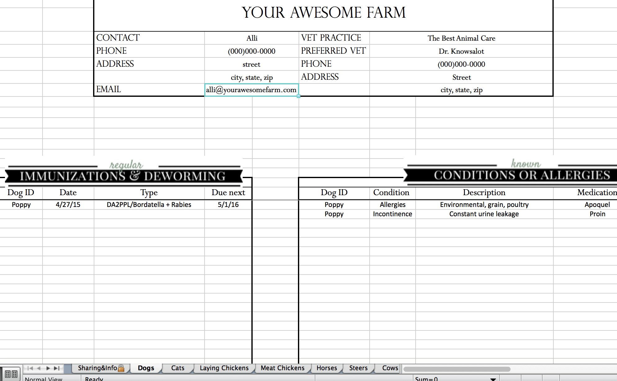 free cattle record keeping spreadsheet Animal Records Spreadsheet