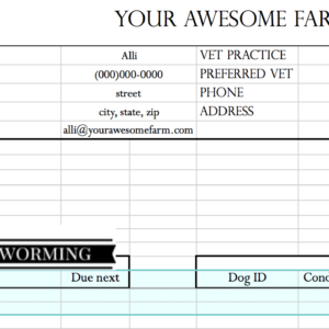 Top label on an Animal Records Spreadsheet.