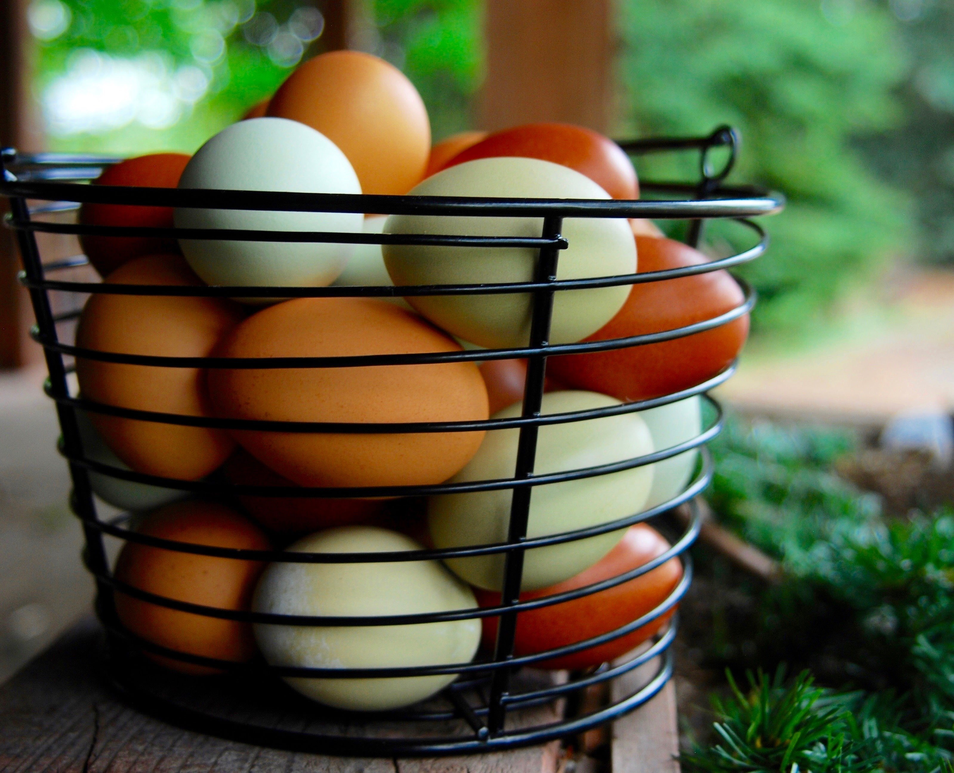 Basket full of colorful eggs.