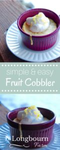 This fruit cobbler is versatile, easy, and oh-so-delicious. You can make it a peach cobbler, a berry cobbler, or even an apple cobbler. Give it a try! It's an easy dessert that is sure to please everyone.