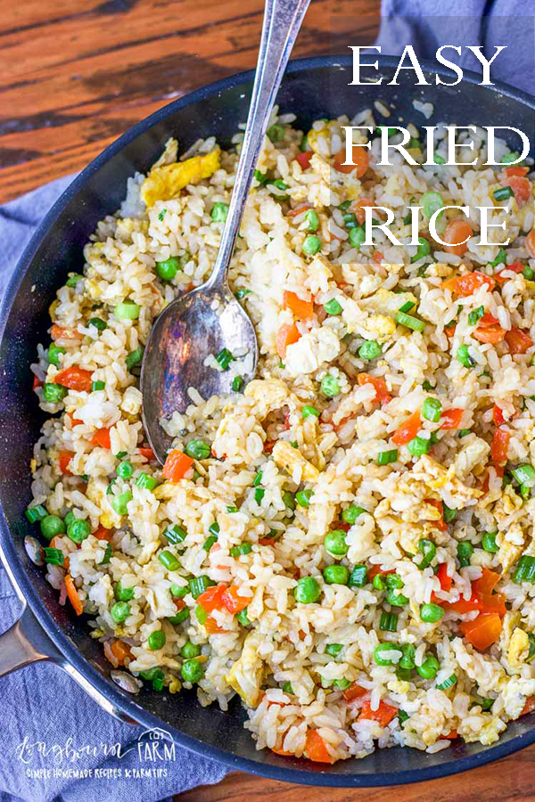 Easy fried rice is the perfect way to use up leftovers and create a flavorful, filling meal. Try it for lunch or dinner, stand-alone or as a side dish! #friedrice #friedricerecipe #friedricerecipeeasy #friedriceeasy #veggiefriedrice #vegetablefriedrice via @longbournfarm