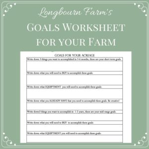 Goals for your Farm Worksheet