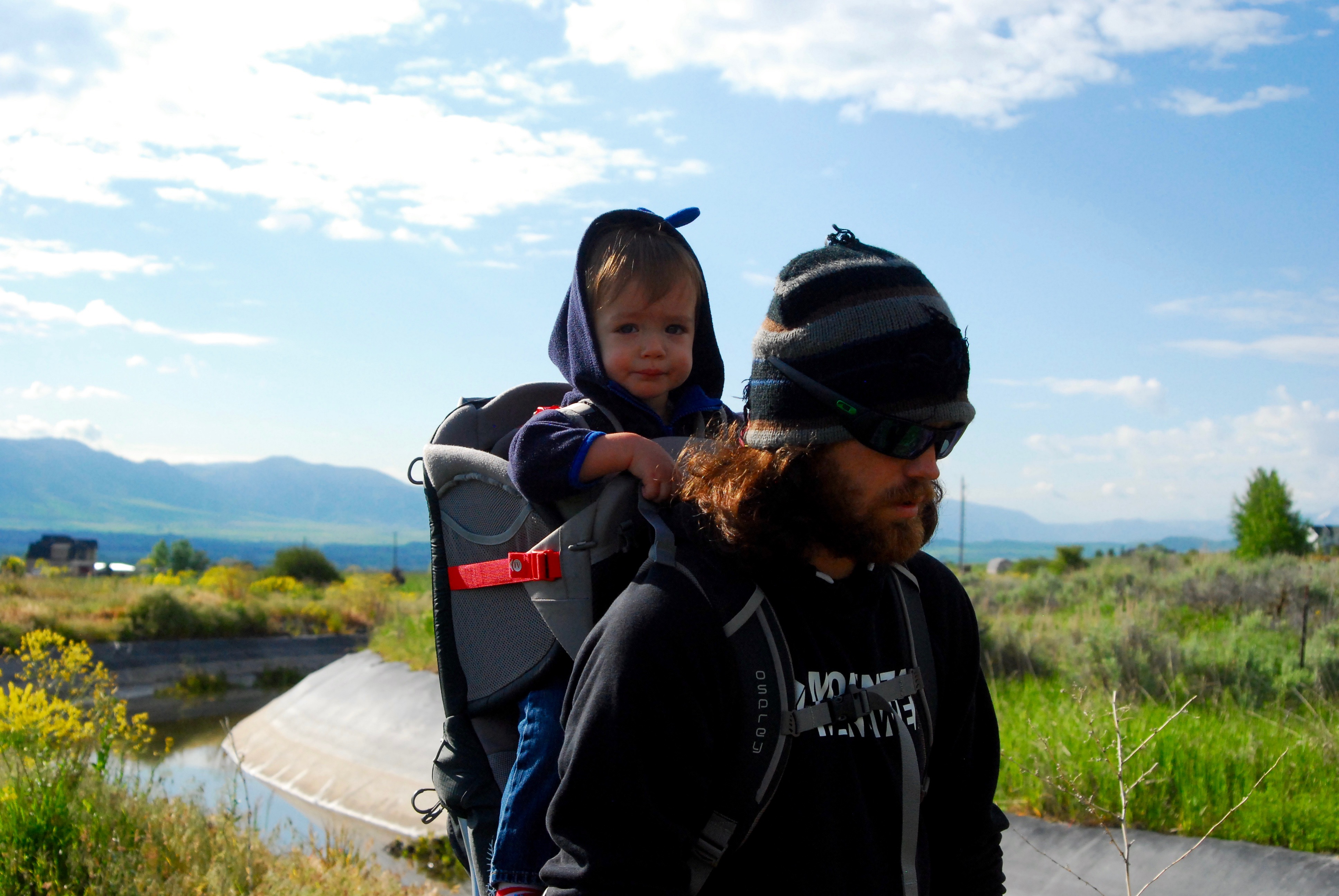 Abram and Andy Hiking on the Canal