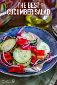 This refreshing easy cucumber salad recipe is perfect for any summer meal! Easy and simple enough for a weeknight meal, elegant enough for a fancy dinner. #cucumbersalad #cucumbersaladrecipe #cucumbers #bellpeppers #redpeppers #longbournfarm #kitchenmemories #foodandfamily