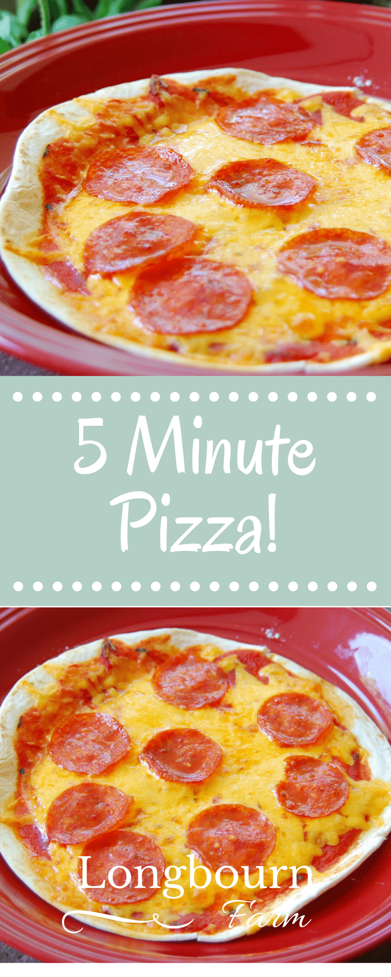 Looking for a quick weeknight meal, or a fast lunch? This 5 minute pizza will hit the spot. Easy, delicious, and a fast recipe! via @longbournfarm