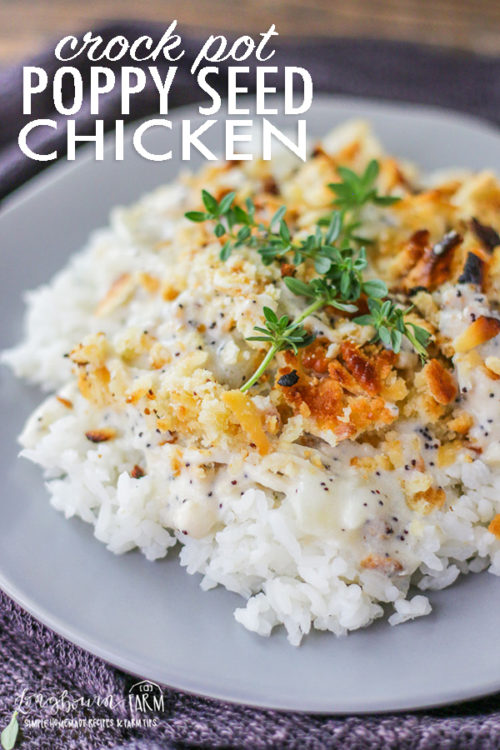 Homemade Poppy Seed Chicken is easy to make in the crockpot and so delicious! It is a comfort food classic the whole family will love. #poppyseedchicken #poppyseedchickeneasy #poppyseedchickencasserole #poppyseedchickenrecipe #poppyseedchickencrockpot #poppyseedchickenhomemade