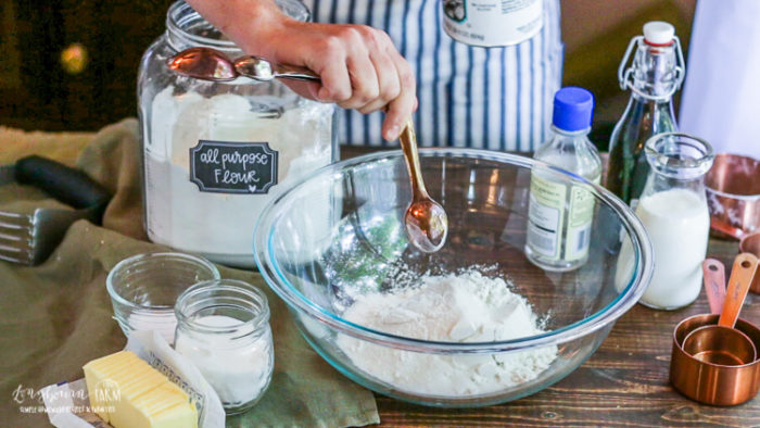 Mixing dry ingredients for easy homemade strawberry shortcakes.