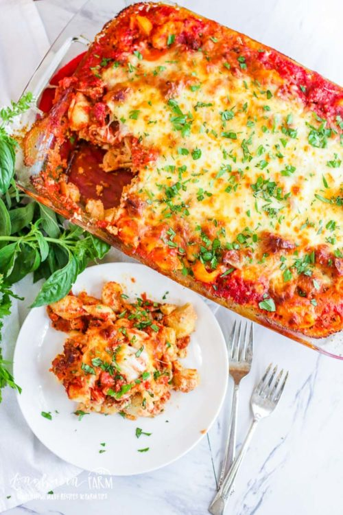 Sausage pasta bake that is flavor packed and easy to make plus all the details on how you can turn it into a freezer meal!! So many tasty options. #pastabake #pasta #pastarecipe #pastabakerecipe #pastabakeeasy #pastabakerecipeeasy #pastabakesausage #italiansausage