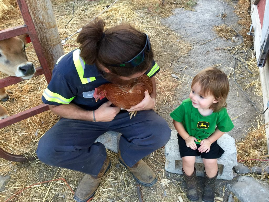 Abram and Andy with the chickens