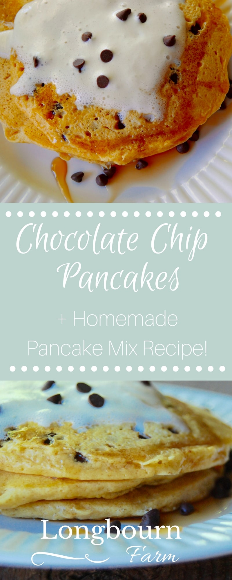 This homemade chocolate chip pancake mix recipe turns out every time and will be a family favorite! Easily customize the mix to your preference! via @longbournfarm