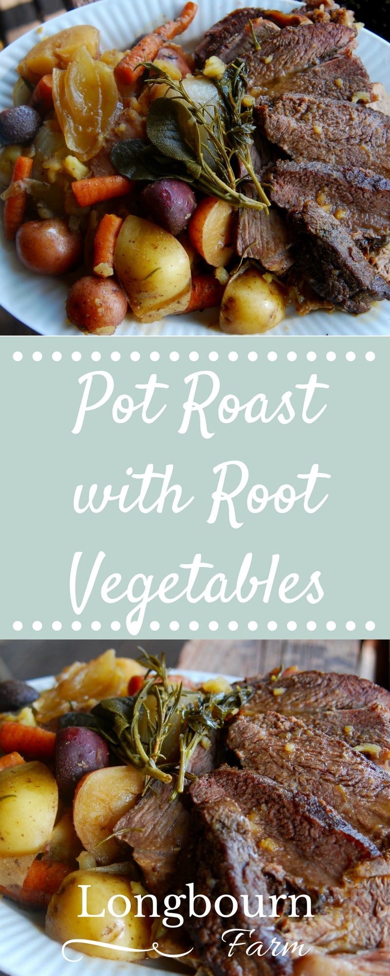 Easy pot roast recipe made with root vegetables is perfect for any occasion. Delicious and filling, the hardest part is waiting for it to cook!