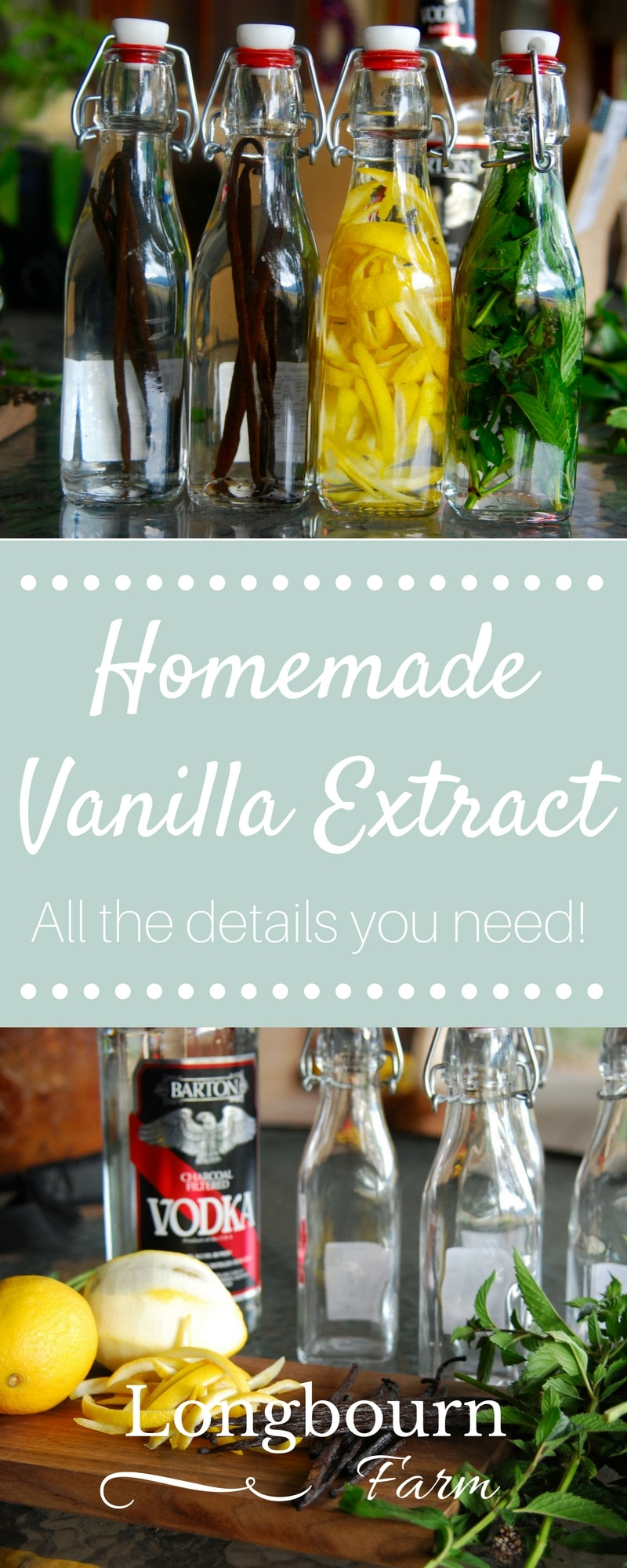 All the details on making homemade vanilla extract. Also, learn how to make mint extract and lemon extract as well! Get the details on what to use! via @longbournfarm