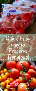 Looking for a quick easy way to preserve tomatoes? Freeze them raw! Simply dice, flash freeze, bag them up and you'll have garden tomatoes all year long.