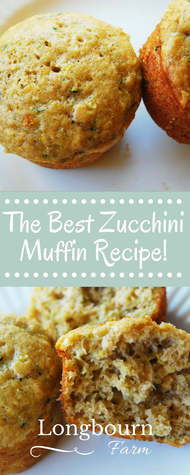 These are the best zucchini bread muffins! They are light and airy, not dense and greasy. This recipe will turn out every time you make it! via @longbournfarm