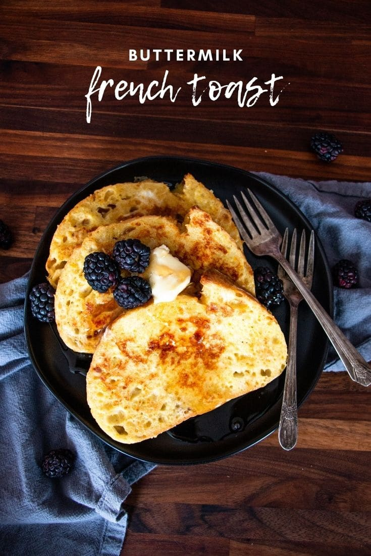 Buttermilk french toast is a simple but decadent breakfast you will love. Perfectly spiced, crisp on the edges and soft in the middle.