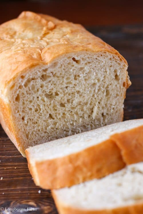 Sliced loaf of bread made from the best homemade bread recipe.