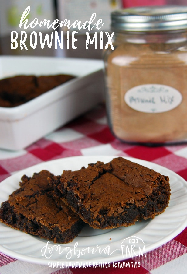 The best brownie mix from scratch! Chewy on the inside with a crispy crust on the outside, these brownies really are perfect. Try this homemade mix today! #brownies #browniesfromscratch #homemadebrownies #homemademix #homemadebrowniemix #browniemix #easybrownies #dessert #baking #bakingbrownies #easydessert via @longbournfarm