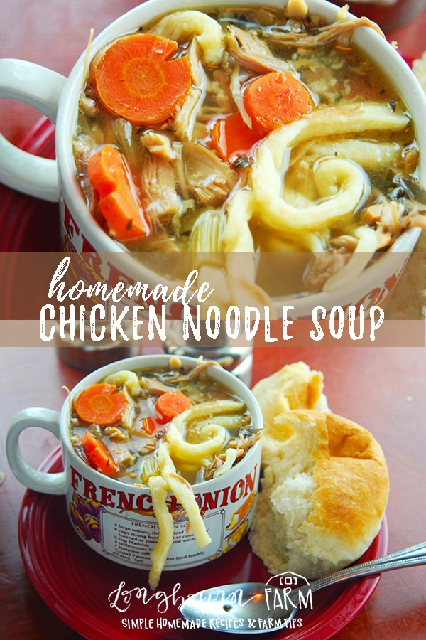 Making chicken noodle soup from scratch is so delicious. Learn how to make amazing flavorful broth and perfect egg noodles! Try it today. #chicken #soup #noodles #eggnoodles #homemadeeggnoodles #chickensoup #chickennoodlesoup #homemadesoup #homemadechickensoup #soupfromscratch #chickensoupfromscratch #fromscratch via @longbournfarm