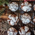 chocolate crinkle cookies on a cooling rack
