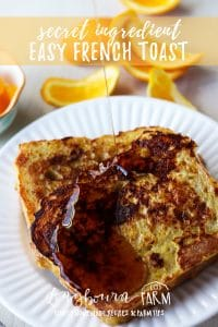 Make this easy french toast recipe today! Simple ingredients transform old bread into a decadent and delicious french toast breakfast your family will love! #breakfast #french #frenchtoast #homemadefrenchtoast #bestfrenchtoast #easyfrenchtoast #bread #eggs #syrup #homemadesyrup