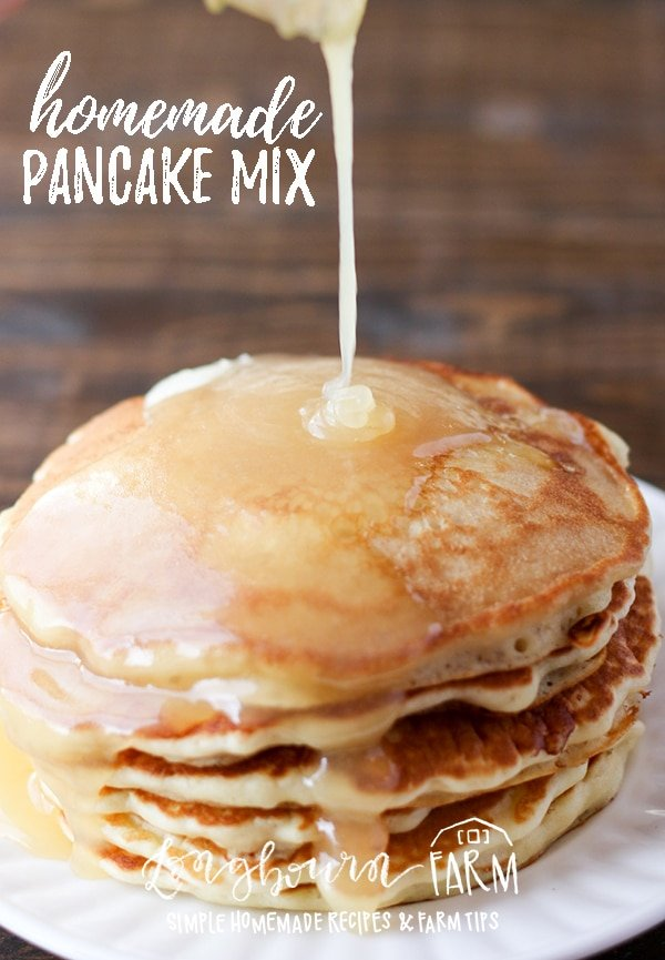 This is the best homemade pancake mix recipe! Soft, fluffy, delicious pancakes. The mix is easy to make and easier to change up for any type of pancake! #homemade #fromscratch #homemadepancakes #pancakes #homemadepancakemix #pancakesfromscratch #pancakemix #breakfast #breakfastfood #easybreakfast #easybreakfastrecipe #breakfastrecipe via @longbournfarm