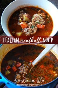 Italian Meatball Soup made with homemade meatballs is a family favorite. A hearty broth with vegetables makes it a satisfying meal. #soup #homemadesoup #meatballs #meatballsoup #homemademeatballs #italian #italianfood #italiancooking #italiansoup #italianmeatballsoup #fromscratch #homemade