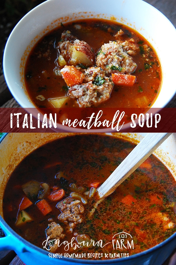 Italian Meatball Soup made with homemade meatballs is a family favorite. A hearty broth with vegetables makes it a satisfying meal. #soup #homemadesoup #meatballs #meatballsoup #homemademeatballs #italian #italianfood #italiancooking #italiansoup #italianmeatballsoup #fromscratch #homemade via @longbournfarm
