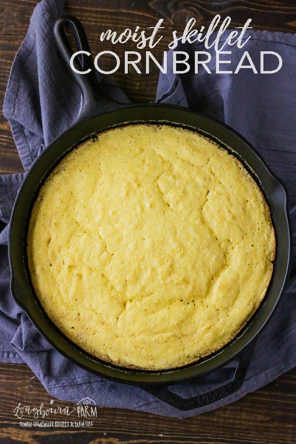 Looking for a moist cornbread recipe? Look no further! This cornbread is perfect every time with a crispy, golden crust. #skilletcornbreadrecipe #skilletcornbreadcastiron #buttermilkcornbread #buttermilkcornbreadrecipe #moistcornbread #moistcornbreadrecipe via @longbournfarm