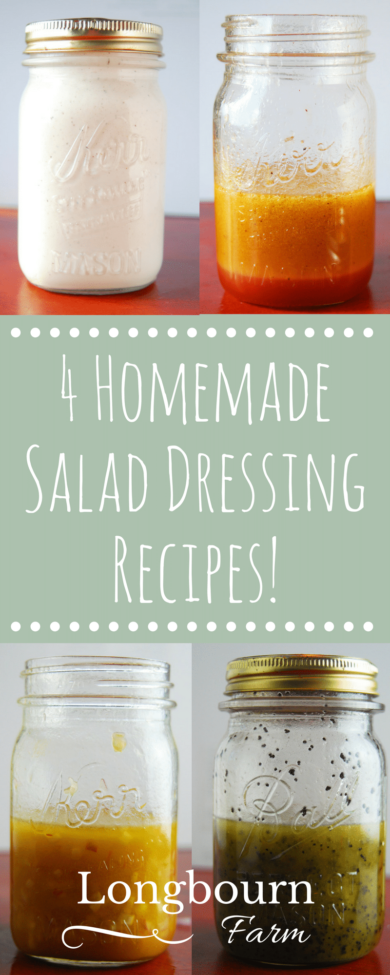 Homemade salad dressing is easy! Get these salad dressing recipes: red wine vinaigrette, honey balsamic vinaigrette, poppy seed & creamy farmhouse dressing!