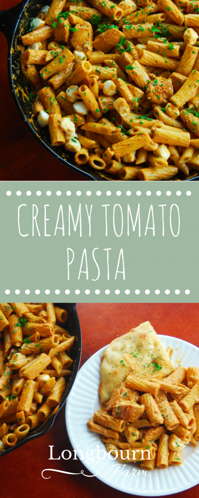 Creamy tomato pasta is a super fast meal that's ready in 20 minutes. Add chicken or keep it a vegetarian pasta - the whole family will love it. Try it today!