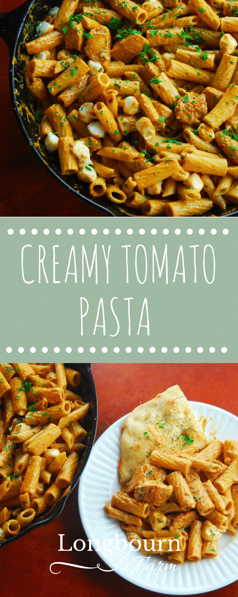 Pasta with Tomato Cream Sauce is a super fast 20-minute meal. Add chicken or keep it vegetarian - the whole family will love it. Try it today! via @longbournfarm