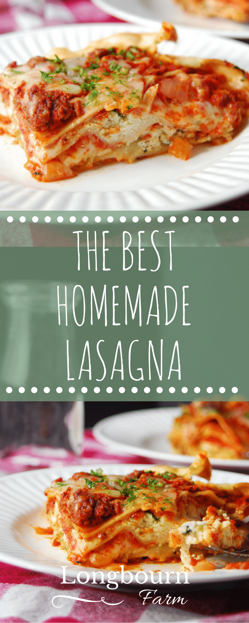 Don't be intimidated by making homemade lasagna! This recipe is easy to follow and tastes AMAZING! Use homemade lasagna noodles or some from the store.