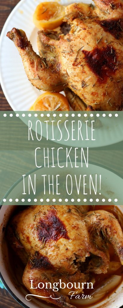 Making a rotisserie chicken in oven is so easy, how-to video in post! Tender juicy meat plus ultra-flavorful seasonings makes this one amazing dinner.