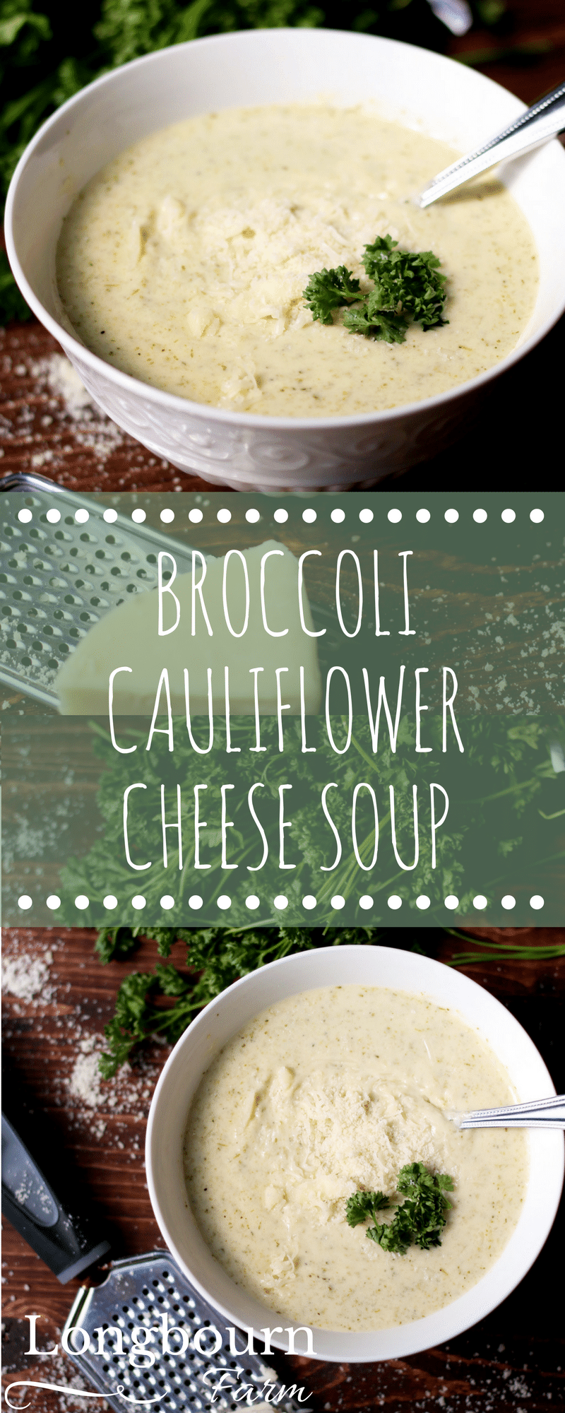 Cheesy broccoli and cauliflower soup is creamy, and packed with cauliflower and broccoli! Ready in just 30 minutes, this soup will be an instant hit.