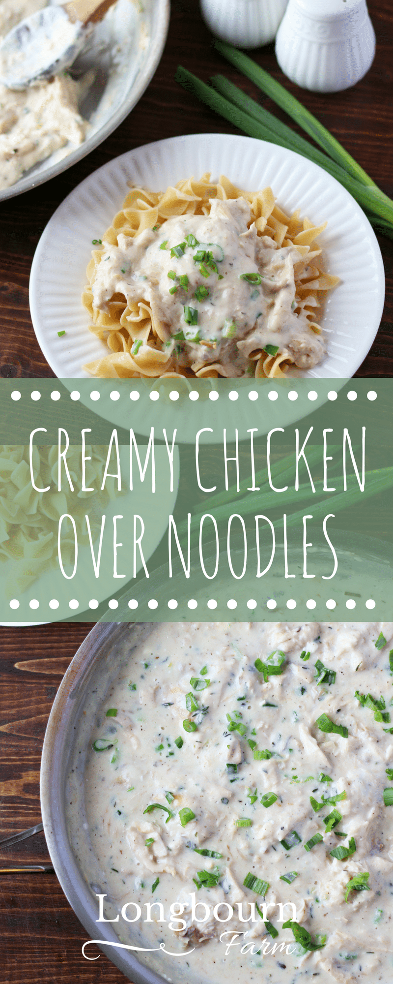 Creamy chicken over noodles is a flavorful, fast dinner that is made from scratch. Similar to chicken ala king, this version will please the whole family!