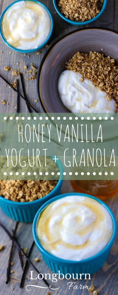 Honey vanilla yogurt is an awesome quick breakfast idea. Buy plain yogurt and flavor it yourself to control sugar, flavor, and texture!