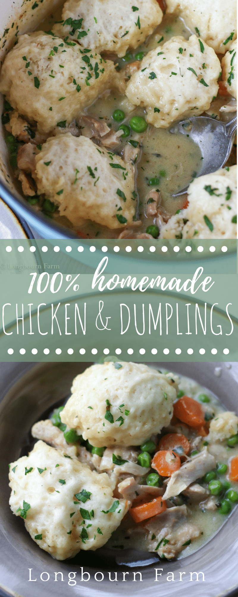 This easy chicken and dumplings recipe is totally homemade and is sure to become a family favorite. Packed with flavor, juicy meat, and tender veggies! via @longbournfarm