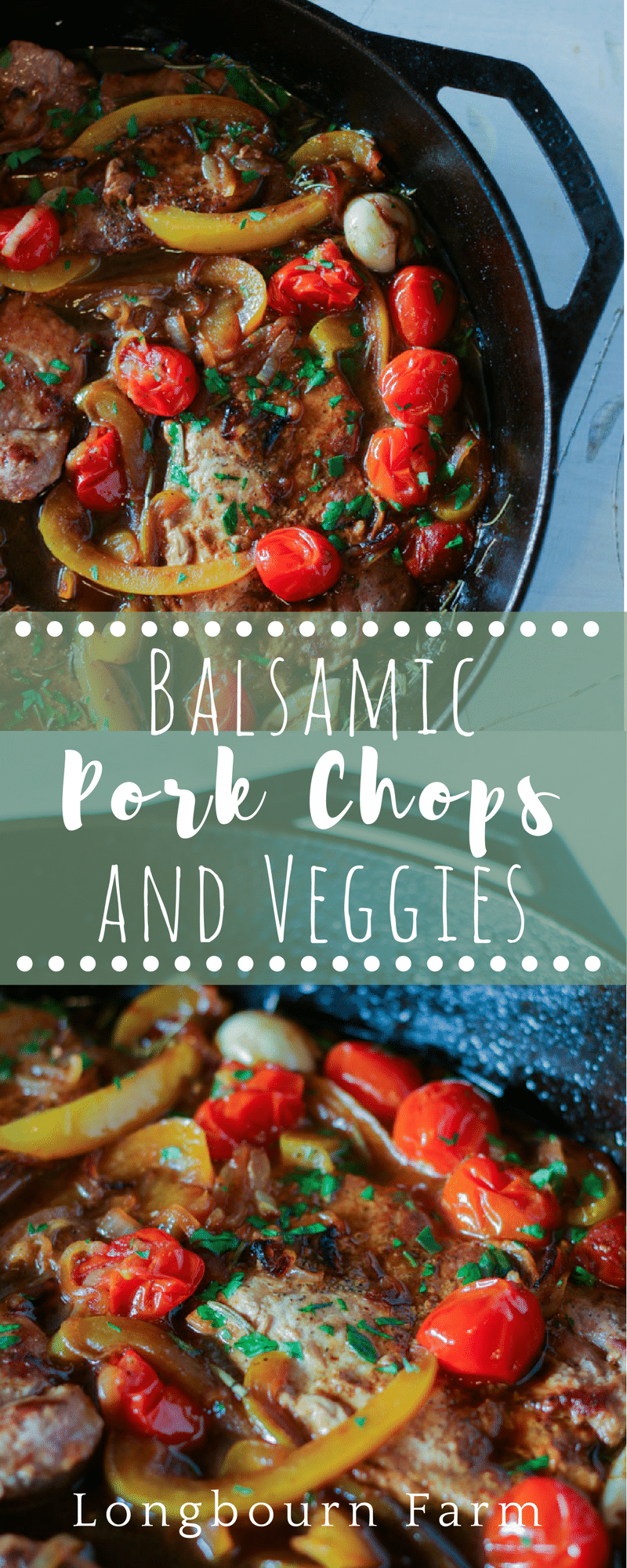 Balsamic pork chops are a quick one-pan meal that is packed with flavor and color! This family-friendly main dish pairs well with any side, it's delicious! via @longbournfarm