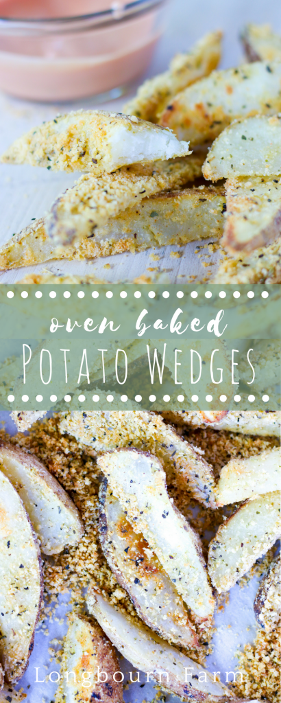Seasoned oven baked potato wedges are the perfect summer side dish! Easy, flavorful and crisp they are sure to be a family favorite.