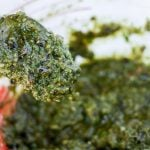 Spoonful of homemade pesto.