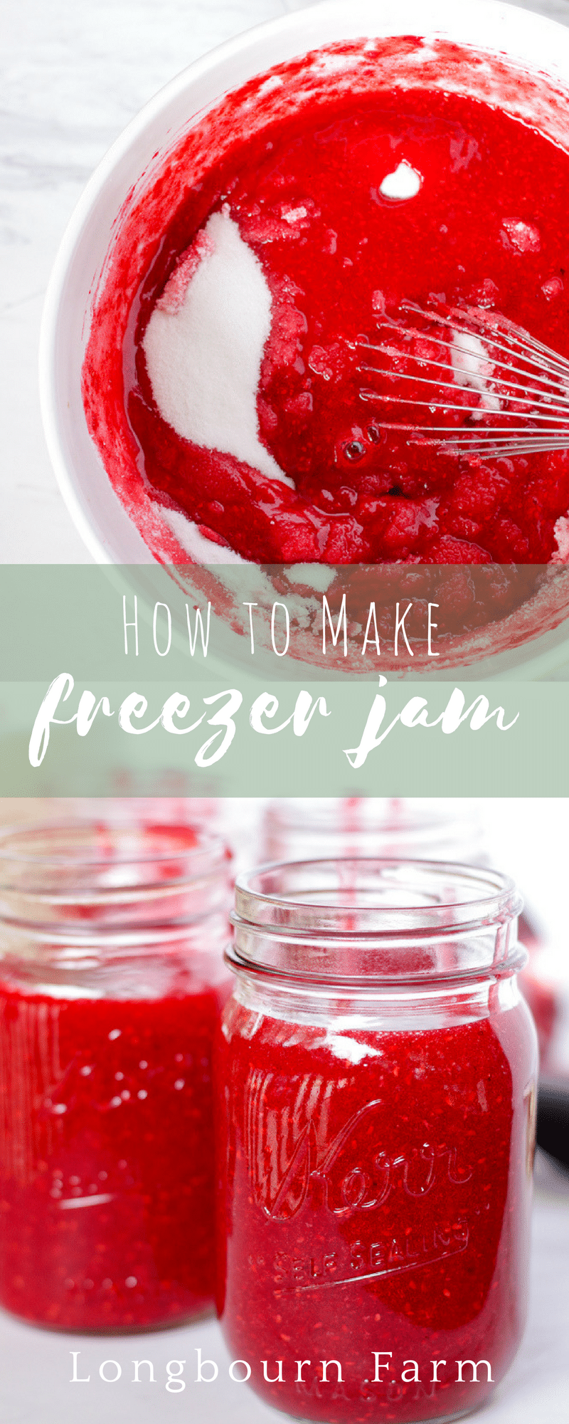 Learn all the tips and tricks for making perfect freezer jam every time. All you need is a bowl, a whisk and some time! No cooking required!! via @longbournfarm