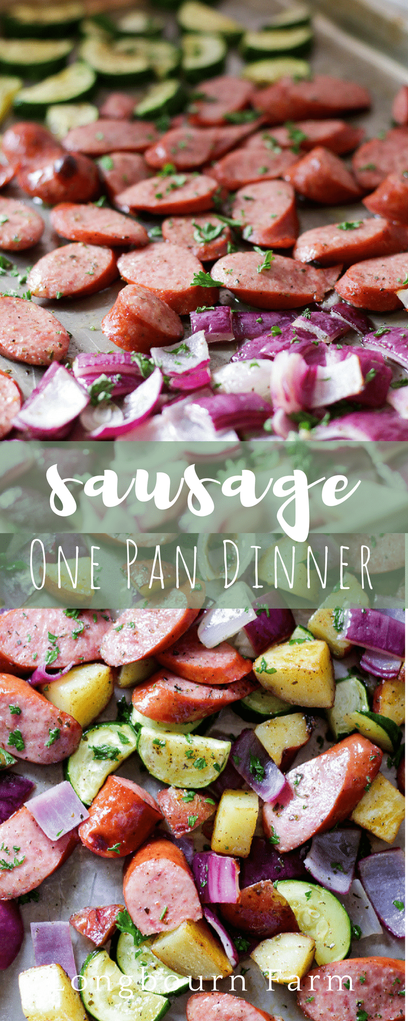 This Sausage Sheet Pan Dinner is packed with flavor, easy to put together, and fast. Perfect family-friendly meal for a busy day. via @longbournfarm