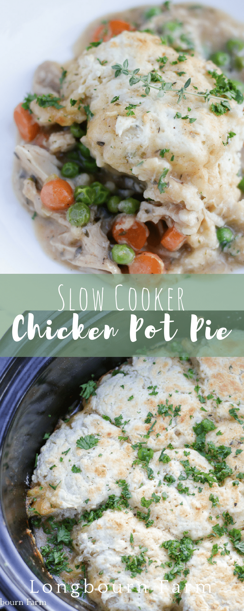 Slow cooker chicken pot pie is the perfect meal for a busy day! Comfort food made easy, it's packed with flavor and sure to be an instant family favorite. via @longbournfarm
